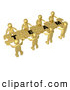 "Royalty Free Stock Illustration of a Bright Team of 8 Gold People Holding up Connected Pieces to a Colorful Puzzle That Spells out ""Team,"" Symbolizing Excellent Teamwork, Success and Link Exchanging by 3poD"