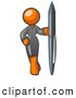 Royalty Free Stock Illustration of a Curvy Stylized Orange Woman in a Gray Dress, Standing with One Hand on Her Hip, Holding a Huge Pen by Leo Blanchette