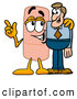 Royalty Free Stock Illustration of a Cute Bandaid Bandage Mascot Cartoon Character Talking to a Business Man by Toons4Biz