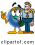 Royalty Free Stock Illustration of a Cute World Earth Globe Mascot Cartoon Character Talking to a Business Man by Toons4Biz