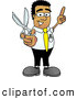Royalty Free Stock Illustration of a Friendly Black Businessman Mascot Character Holding a Pair of Scissors by Toons4Biz