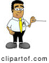 Royalty Free Stock Illustration of a Friendly Black Businessman Mascot Character Holding a Pointer Stick by Toons4Biz