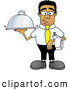 Royalty Free Stock Illustration of a Friendly Black Businessman Mascot Character Holding a Serving Platter by Toons4Biz