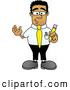 Royalty Free Stock Illustration of a Friendly Black Businessman Mascot Character Holding a Yellow Pencil by Toons4Biz