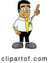Royalty Free Stock Illustration of a Friendly Black Businessman Mascot Character Pointing Upwards by Toons4Biz