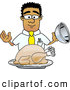 Royalty Free Stock Illustration of a Friendly Black Businessman Mascot Character Serving a Thanksgiving Turkey on a Platter by Toons4Biz