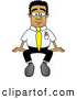 Royalty Free Stock Illustration of a Friendly Black Businessman Mascot Character Sitting by Toons4Biz