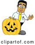 Royalty Free Stock Illustration of a Friendly Black Businessman Mascot Character with a Carved Halloween Pumpkin by Toons4Biz