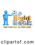"Royalty Free Stock Illustration of a Friendly Blue Person Leaning Against Text Reading ""Be Right Back - This Page Will Be Right Back"" for Website Construction by 3poD"