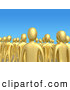 Royalty Free Stock Illustration of a Friendly Crowd of Gold People Standing Tall Together in a Group Against a Blue Sky Background, Symbolizing Unity and Teamwork by 3poD