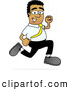 Royalty Free Stock Illustration of a Friendly Fast Black Businessman Mascot Character Running by Toons4Biz