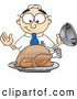 Royalty Free Stock Illustration of a Friendly Hungry Male Caucasian Office Nerd Business Man Mascot Character Eyeing a Cooked Thanksgiving Turkey on a Platter by Toons4Biz