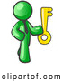 Royalty Free Stock Illustration of a Friendly Lime Green Businessman Holding a Large Golden Skeleton Key, Symbolizing Success by Leo Blanchette