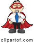 Royalty Free Stock Illustration of a Friendly Male Caucasian Office Nerd Business Man Mascot Character Dressed As a Super Hero by Toons4Biz