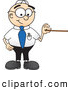 Royalty Free Stock Illustration of a Friendly Male Caucasian Office Nerd Business Man Mascot Character Holding a Pointer Stick by Toons4Biz