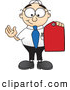 Royalty Free Stock Illustration of a Friendly Male Caucasian Office Nerd Business Man Mascot Character Holding a Red Sales Price Tag by Toons4Biz