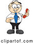 Royalty Free Stock Illustration of a Friendly Male Caucasian Office Nerd Business Man Mascot Character Holding a Telephone by Toons4Biz