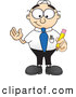 Royalty Free Stock Illustration of a Friendly Male Caucasian Office Nerd Business Man Mascot Character Holding a Yellow Number 2 Pencil with an Eraser Tip by Toons4Biz