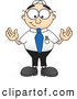 Royalty Free Stock Illustration of a Friendly Male Caucasian Office Nerd Business Man Mascot Character Standing with His Arms out by Toons4Biz