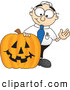Royalty Free Stock Illustration of a Friendly Male Caucasian Office Nerd Business Man Mascot Character with a Carved Halloween Pumpkin by Toons4Biz