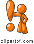 Royalty Free Stock Illustration of a Friendly Orange Businessman Standing by a Large Exclamation Point by Leo Blanchette