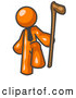 Royalty Free Stock Illustration of a Friendly Orange Man Holding a Cane by Leo Blanchette