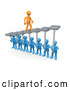 Royalty Free Stock Illustration of a Friendly Orange Man Walking Upwards on Steps That Are Held by Blue Men Below, Symbolizing Support, Trust and Achievement by 3poD