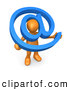 Royalty Free Stock Illustration of a Friendly Orange Person Holding a Blue at Symbol with His Head Peeking Through the Center by 3poD