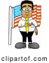 Royalty Free Stock Illustration of a Friendly Patriotic Black Businessman Mascot Character Pledging Allegiance to an American Flag by Toons4Biz