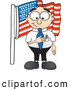 Royalty Free Stock Illustration of a Friendly Patriotic Male Caucasian Office Nerd Business Man Mascot Character Pledging Allegiance to an American Flag by Toons4Biz