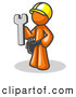 Royalty Free Stock Illustration of a Friendly Proud Orange Construction Worker Man in a Hardhat, Holding a Wrench by Leo Blanchette