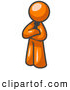 Royalty Free Stock Illustration of a Friendly Proud Orange Man Standing with His Arms Crossed by Leo Blanchette