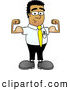 Royalty Free Stock Illustration of a Friendly Strong Black Businessman Mascot Character Flexing His Arm Muscles by Toons4Biz