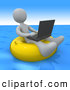 Royalty Free Stock Illustration of a Friendly White Person, a Workaholic, Floating on a Yellow Inner Tube in the Ocean While Typing on a Laptop Computer by 3poD
