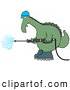 Royalty Free Stock Illustration of a Goofy Big Green Dino in a Hard Hat and Boots Operating a Pressure Washer by Djart