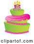 Royalty Free Stock Illustration of a Green and Pink Fondant Cake with Birthday Candles by Pams Clipart