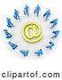 Royalty Free Stock Illustration of a Group of Blue Businesspeople Surrounding a Yellow Email at Symbol by 3poD