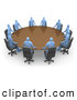 Royalty Free Stock Illustration of a Group of Blue Men Seated and Holding a Meeting at a Large Golden Conference Table by 3poD