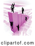 Royalty Free Stock Illustration of a Group of Businessmen Climbing Purple Bars to Reach the Top Where a Proud Business Man Stands by AtStockIllustration