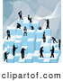 Royalty Free Stock Illustration of a Group of Businessmen Working Together As a Team to Stack Blue Building Blocks of Success by AtStockIllustration