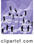 Royalty Free Stock Illustration of a Group of Businessmen Working Together As a Team to Stack Purple Building Blocks of Success by AtStockIllustration