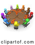 Royalty Free Stock Illustration of a Group of Colorful and Diverse Busy Men on a Tight Schedule Holding a Meeting About Labour Hours Around a Giant Clock Conference Table by 3poD