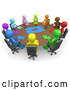 Royalty Free Stock Illustration of a Group of Colorful and Diverse Men Holding a Meeting and Trying to Solve a Jigsaw Around a Large Rectangular Conference Table in an Office by 3poD