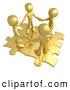 Royalty Free Stock Illustration of a Group of Four Gold People Holding Hands While Standing on Connected Gold Puzzle Pieces, Symbolizing Teamwork, and Interlinking for Seo Website Marketing by 3poD