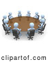 Royalty Free Stock Illustration of a Group of Light Blue People Holding an Office Meeting at a Large Conference Table in an Office by 3poD