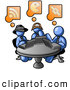 Royalty Free Stock Illustration of a Group of Three Blue Men Using Laptops in an Internet Cafe by Leo Blanchette