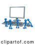 Royalty Free Stock Illustration of a Group of Tiny Men Around a Computer Keyboard and Looking up at a Flat Screen Lcd Monitor Screen While One Person Operates the Mouse by 3poD