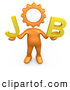 Royalty Free Stock Illustration of a Imaginative Orange Cog Headed Person Holding Text Reading Job by 3poD