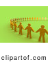 Royalty Free Stock Illustration of a Line of Golden People Standing Side by Side and Holding Hands While Forming a Large Circle, Symbolizing Teamwork, Support, or Taking a Stand by 3poD