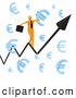Royalty Free Stock Illustration of a Man Balancing on a Graph Through Floating Blue Euro Symbols by 3poD